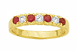 Alliance Demi-Rail Rubis et Diamant Cz 3 mm