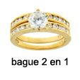 Bague Alliance 2 en 1 Sertie Diamant Cz 7mm