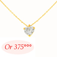 Collier Coeur Diamant Cz 6mm Or 9K