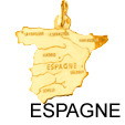 Pendentif Carte Pays Espagne 17 mm Or