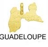 Pendentif Carte Pays Guadeloupe 18 mm Or 18K