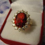 Grosse Bague Marquise 22mm Sertie Rubis Cz