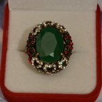 Grosse Bague Ovale 27mm Marquise Rubis Cz